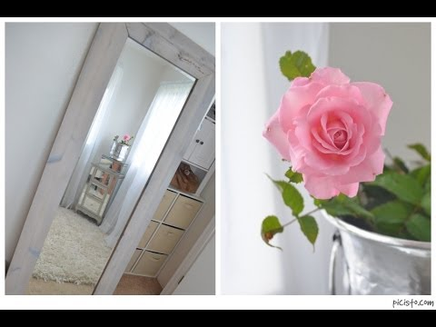 DIY Weathered Wood Leaning Floor Mirror