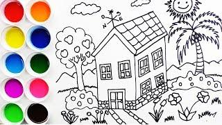 Cómo Dibujar y Colorear Una Casa en la Villa - Draw House - Learn Colors / FunKeep