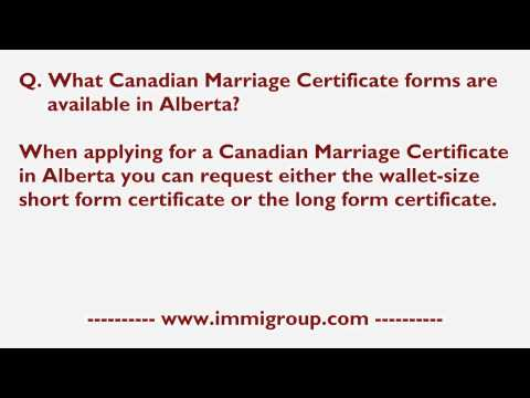 What Canadian Marriage Certificate Forms Are Available In Alberta?