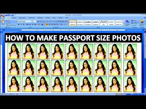 How To make Passport Size Photograph In Ms Word Tutorial In Hindi
