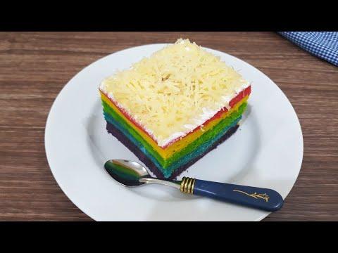 Rainbow Cake Kukus Lembut dan Enak | Cara Mudah Membuat Bolu Pelangi