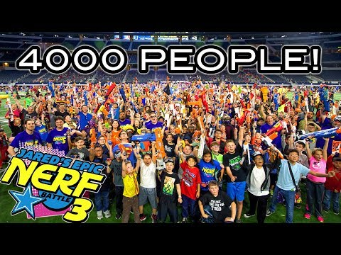WORLDS LARGEST NERF WAR WITH OVER 4000 PEOPLE! (Jared's Epic Nerf Battle 3!)