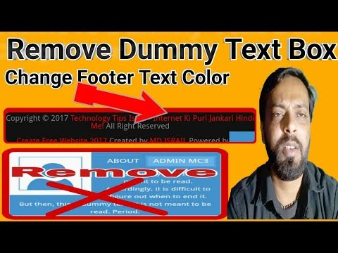how to change Blogger Blog Footer Text Color | Remove Dummy Text Box With Html Coding In hindi 2018