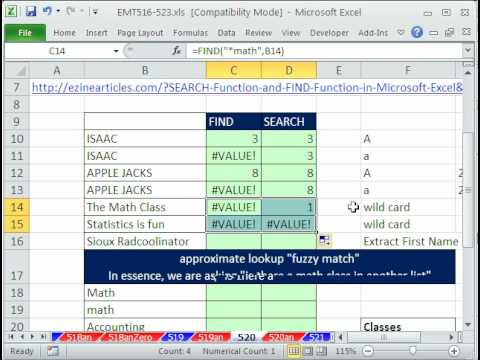 Excel Magic Trick 520: FIND & SEARCH Functions