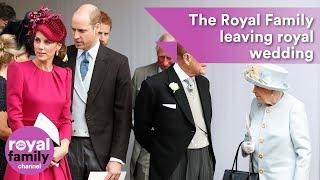 The Royal Family leaving Princess Eugenie
