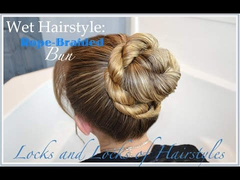 Wet Hairstyles: Rope Braid Bun