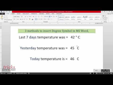 Insert Degree Symbol in MS Word