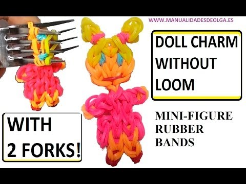 Doll charm with two forks without Rainbow Loom Tutorial. (Mini Figurine)