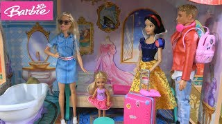 Barbie and Ken Vacation in Disney Princess Hotel with Barbie Helicopter Trip and Chelsea Playhouse
