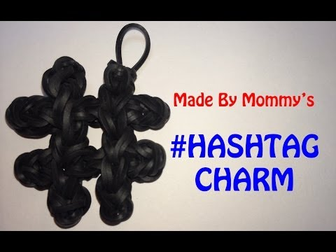 Rainbow Loom Band # Hashtag Number Sign Charm
