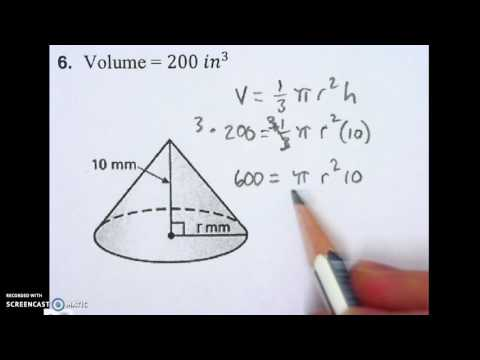 8.2 finding the radius of a cone