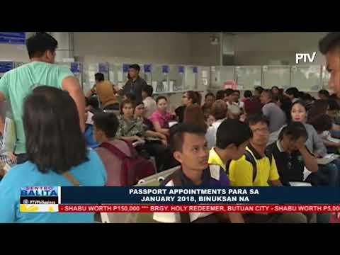 Passport appointments para sa January 2018, binuksan na