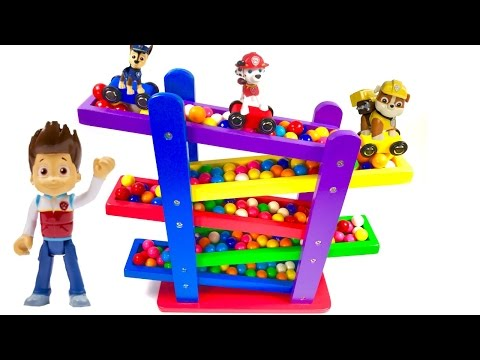 - Paw Patrol Cars and Gumball Race Down Ramps!