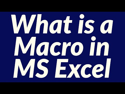 What is a macro in MS Excel