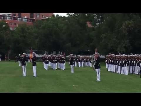 US Marine Corps Sunset Parade at Iwo Jima Memorial
