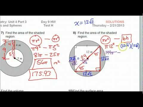 Day 09 HW - Test H #7-14 - Circles and Spheres