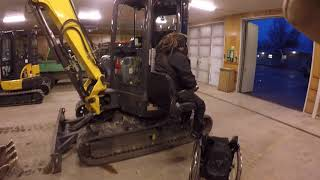 getting into the excavator from wheelchair