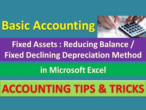 Fixed Assets : Reducing Balance / Fixed Declining Depreciation Method in Excel [Urdu / Hindi]