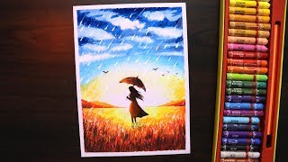 Download Oil pastel drawing for beginners | Rainy season scenery drawing for beginners with oil pastel Video