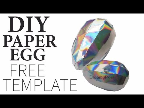 DIY paper dragon egg with FREE template ❤💚💛💗💕