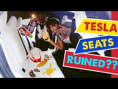 TESLA WHITE INTERIOR STAIN TEST! | How to Clean White Seats
