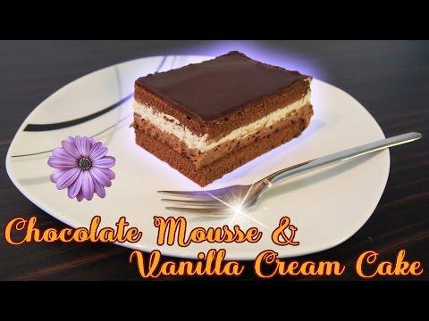 Chocolate Mousse Cake with Vanilla Cream