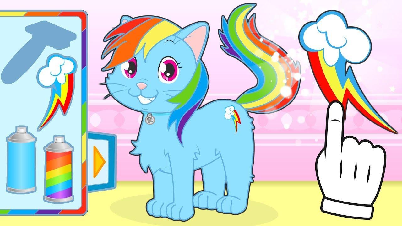 BABY PETS 🌈 Kira Dresses up as Rainbow Pony | Cartoons for Children