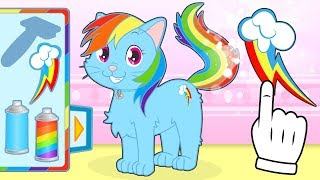 BABY PETS 🌈 Kira Dresses up as Rainbow Dash from My Little Pony | Cartoons for Children