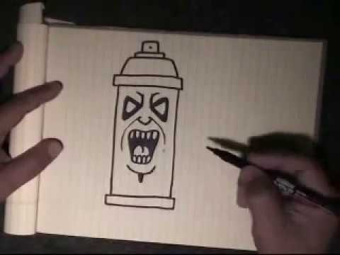 How to draw graffiti character ''Spraycan Character''-with my voice instructions