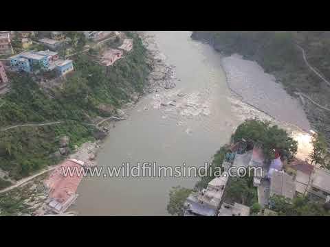 Township at the bank of Alaknanda river in Rudraprayag - Aerial view