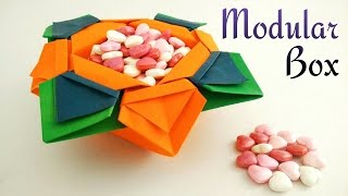 Useful Modular Origami Paper Flower Box Vase Bowl