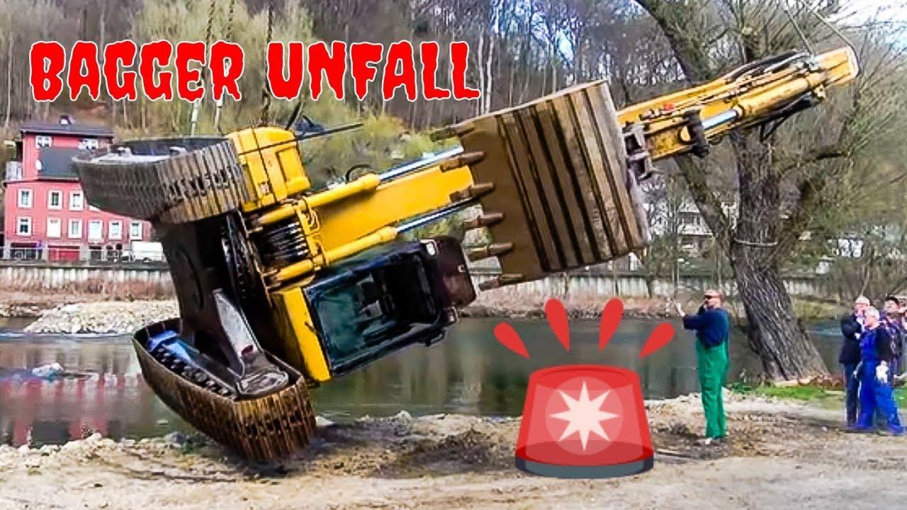 Bagger Unfall - Kran im Einsatz beim Bagger Unfall