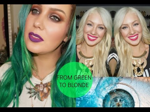 HOW TO- Remove Green & Blue from your Hair! FROM GREEN TO BLONDE!!!!