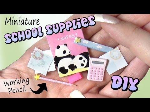 Easy Miniature School Supplies // DIY Dolls/Dollhouse