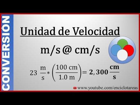 Convertir de metros/segundos a centímetros/segundos - (m/s a cm/s)