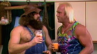 Hillbilly Jim fuels up for a workout with Hulk Hogan: Prime Time Wrestling, Sept. 7, 1988