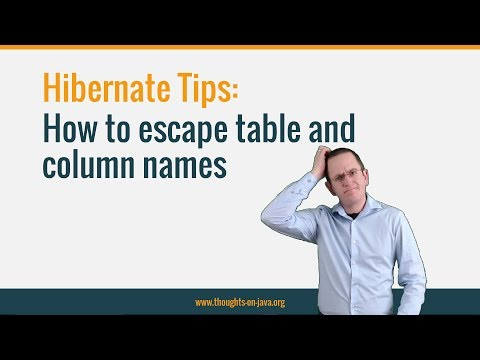 Hibernate Tip: How to escape table and column names