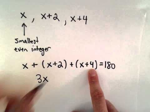 Linear Equation, Word Problem #2 : Consecutive Even Integers