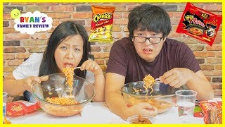 Extreme Spicy Noodle Challenge 2x! Loser drinks Hot Sauce with Ryan