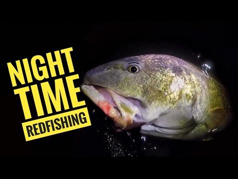 Night time wade fishing for BULL REDFISH!