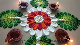 very easy and quick rangoli for beginners|latest 2019 festival rangoli| by Shital Mahajan