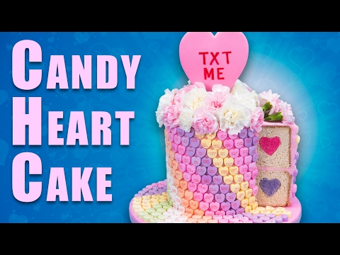 Giant Conversation Heart Cake (Candy Hearts Cake) for Valentine's Day