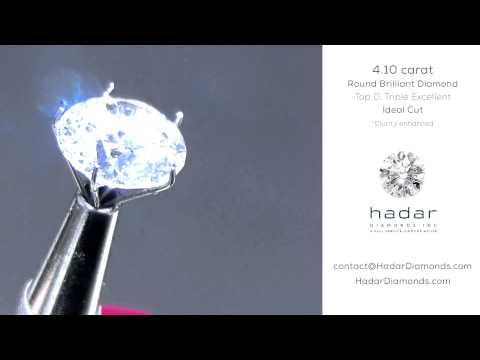 4+ carat Round Brilliant Clarity Enhanced Diamond. Ideal cut.