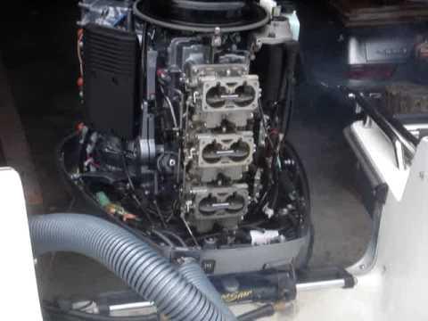 Yamaha V6 Outboard 2 stroke 3 double barrel carb test