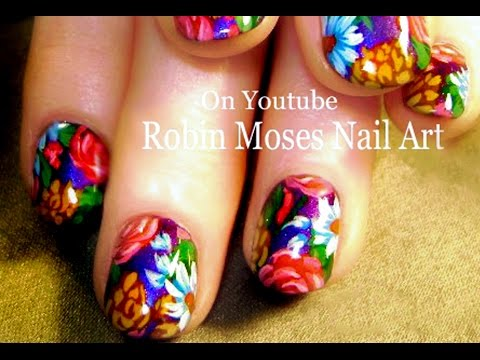 DIY Flower Nails | Vintage Daisy and Rose bouquet Nail Art Design