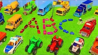 ABC Apprenez l'alphabet avec des jouets de camion de pompiers pour les enfants - Excavator Toys