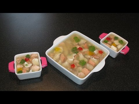 Jellied fish (Fish in aspic). Fish cooking. Ginger with lemon.