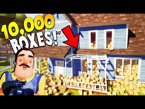 I BURIED MY NEIGHBOR IN HIS HOUSE... WITH 10,000 BOXES! | Hello Neighbor Prank The Neighbor