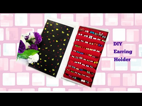 DIY how to make earring holder at home