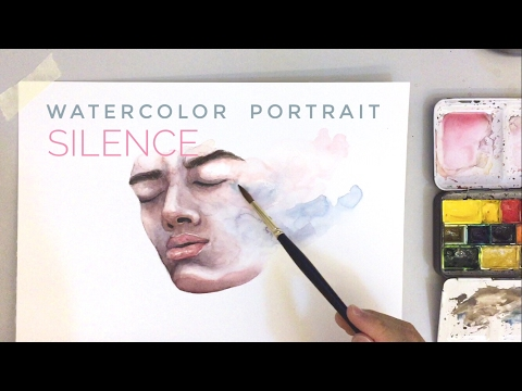 silence - watercolor portrait